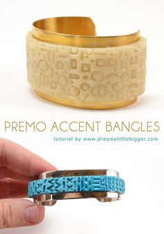 Use Premo polymer clay to easily update some simple metal bangles. It's non-messy and super easy for crafters of any skill level!