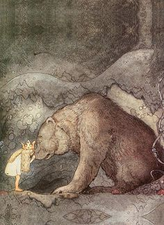 She Kissed the Bear on the Nose #JohnBauer #Illustration