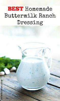 Zesty homemade buttermilk ranch dressing is quick, easy, and super tasty over a salad or as a dip | littlebroken.com @littlebroken