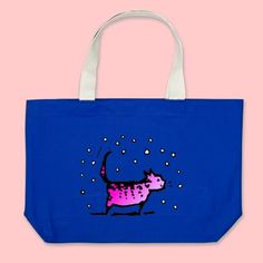 Pink Cat Jumbo Tote Bags by Paul Stickland for Pink Cat on Zazzle #cats #pink.  Want!!!