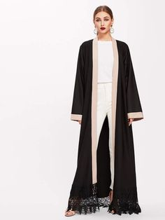 Contrast Lace Crochet Hem Floor Length Abaya