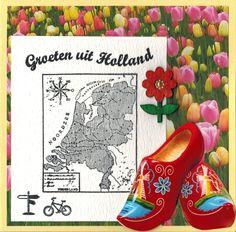 Voor een dagje uit of vakantie in eigen land heeft Marianne D deze Holland stempel op de markt gebracht. Ook de tekst stempel is van Marianne D. Als achtergrondpapier is het scrappapier Holland Tulips (0864) gebruikt en de klompen stans als finishing touch. Verkrijgbaar bij http://www.multihobby.nl/marianne-design-stempels-nederland-europa-en-wereld#