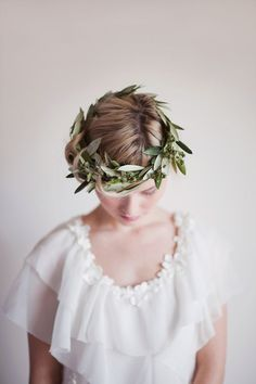 I heart crowns of all kinds;) olive branch wedding crown via Elizabeth Messina Hair Studio, Floral Hair, Bride Hairstyles, Flowers In Hair, Hair Pieces, Headpiece, Headdress, Her Hair, Bridal Hair