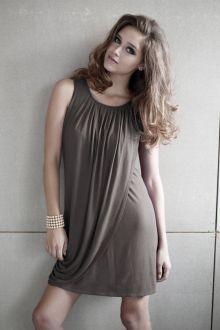 Mothers En Vogue Goddess Drape Nursing Dress, Cobblestone Grey - Izzy's Mum Breastfeeding Clothing