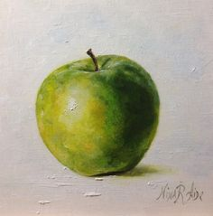 Green Apple Granny Smith Original Oil painting  by NinaRAideStudio