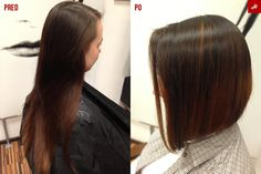 Before and after. The result is on the right side. Two tone hair.