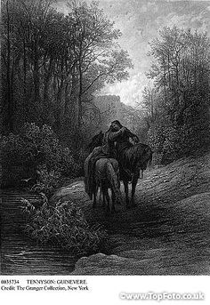 Gustave Dore engraving for The Idylls of the King. The Parting of Lancelot and Guinevere Lancelot And Guinevere, The Lady Of Shalott, Legend Of King, Art Thou, Norse Mythology, King Arthur, Wood Engraving, French Artists, Illustration Art