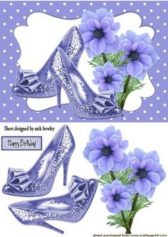 LILAC FLOWERS WITH LILAC SPARKLE SHOES on Craftsuprint - Add To Basket!