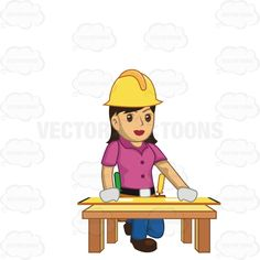 Female Construction Worker Kneeling Down And Measuring #constructionwork #constructionworker #female #lady #measure #tools #woman