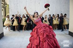 Quinceañera  #red honor court {Bethann Greenberg Photography}