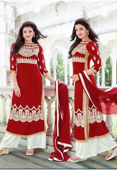 GORGEOUS RED PARTY WEAR GEORGETTE STRAIGHT LONG STYLE SALWAR KAMEES-55053