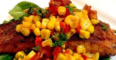 Grilled Salmon with Bacon and Corn Relish Salmon Recipes, Fish Recipes, Seafood Recipes, Beef Recipes, Cooking Recipes, Healthy Recipes, Grilling Recipes, Grilled Scallops, Grilled Salmon