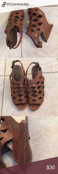 Caged wedge sandals Real leather in great condition! Shoes Wedges
