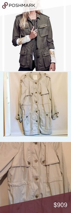 PARTY SALE‼️Free People Utility Jacket. Like new condition, barely worn if ever • Cover photo is same jacket in a different color and slightly different edition • Light grey in color • Front zip closure with button placket • Long sleeves with button cuffs • Hidden drawstring waistband • 35 inches in length from top to hem • Free People • Size large. Free People Jackets & Coats Utility Jackets