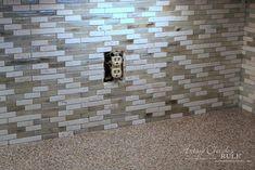 Coastal Inspired DIY Tile Backsplash Tutorial (anyone can do! Diy Tile Backsplash, Vinyl Wood Planks, It's Easy, Door Handles, Coastal, Artsy, Canning, Inspired, Home Decor