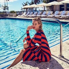 Karolina Kurkova Poses in Miami Inspired Styles for Alexa Magazine Pool Fashion, Miami Fashion, Trendy Fashion, High Fashion, Women's Fashion, Vogue Paris, Red Carpet Hair, Her Style, Editorial Fashion