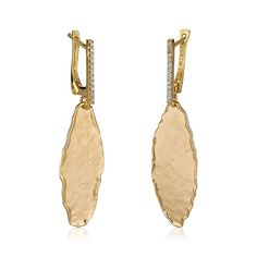 14 Karat Yellow Gold Matte And Hammer Finish Gallery Earrings Accented With Carats Of Pave Set Diamonds