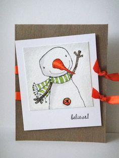 Snowman card by Donna Mikasa.  Stacey Yacula Studio stamps from Purple Onion Designs.
