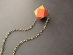 Geometric Wooden Necklace /Orange Necklace / by 4Everinstyle, $18.00
