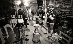 Los Angeles Kings Dustin Brown, Justin Williams and Anze Kopitar before the Kings Championship Rally at STAPLES Center - June 16, 2014 (photo credit @Dave_Sandford via Twitter)