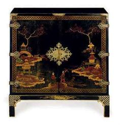 Japanned cabinet, Christies Interiors sale March 2011A CHINESE BLACK AND GOLD JAPANNED CABINET ON STAND,  LATE 19TH/EARLY 20TH CENTURY