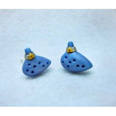 Ocarina,Triforce,fimo, handmade,hecho a mano,polymer clay,earrings,pendientes,video games,video juegos,legend of zelda,trifuerza,triforce,link,nintendo