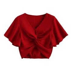 Striped Twisted Butterfly Sleeve Crop Top (€24) ❤ liked on Polyvore featuring tops, butterfly sleeve top, twist crop top, red striped top, cut-out crop tops and stripe top