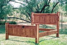 cedar bed frames   Queen size aromatic cedar bed frame with solid square post and flat ...