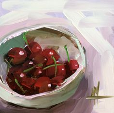 Bowl of Cherries no. 6 Original Still Life Fruit Oil Painting by Angela Moulton 6 x 6 inch on Panel pre-order by prattcreekart on Etsy