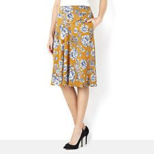 Kim & Co Toile Tapestry Brazil Knit Flared Skirt with Wide Waistband