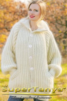 Made to order hand knitted mohair sweater cardigan by supertanya