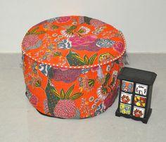 Hey, I found this really awesome Etsy listing at https://www.etsy.com/listing/213367735/orange-kantha-pouf-ottoman-indian-kantha