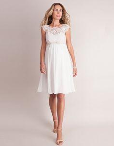 Ivory Silk & Eyelash Lace Maternity Dress | Seraphine