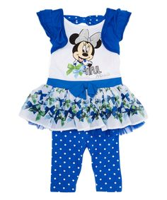 Love this Blue Minnie Mouse A-Line Dress & Leggings - Girls by Minnie Mouse on #zulily! #zulilyfinds