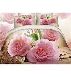 Exotic Fragrant Pink Flowers 4-Piece Duvet Cover Sets