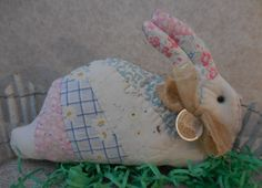 Primitive Easter Bunny Pillow Tuck Vintage Hand Stitched Fan Quilt by auntiemeowsprims on Etsy
