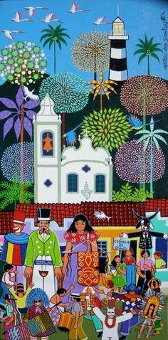 CARNAVAL DE OLINDA (Pintura),  40x60 cm por Militão Dos Santos Obra em acrílico e óleo sobre tela.