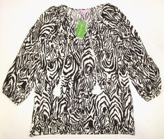 LILLY PULITZER Small ETTA Cameo White Brown Entourage ZEBRA Blouse Top NWT Sm S #LillyPulitzer #Blouse #Casual