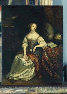 Portrait de Madame de Montespan, avec un livre et une mappemonde, 1670 Caspar Netscher