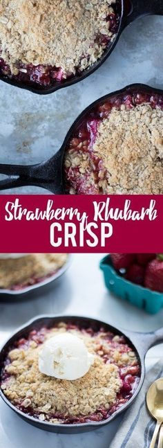 This Strawberry Rhubarb Crisp is easy to make and is the perfect spring dessert!