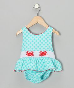 Take a look at this Turquoise Crab Skirted One-Piece - Infant, Toddler & Girls by Velani Classics on #zulily today!