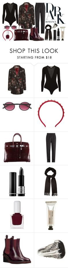 """""""oh, this melody in the head"""" by nothingisnormal ❤ liked on Polyvore featuring Ganni, Michael Kors, Blyszak, Valentino, Hermès, Equipment, MAKE UP FOR EVER, Alexander McQueen, tenoverten and Meraki"""