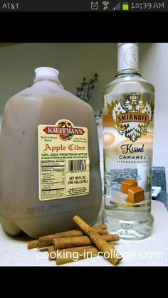 Hot caramel apple cider for grown ups!     4 mugs worth of apple cider     1 mugs worth if caramel vodka     1 tablespoon cinnamon     1/4 cup brown sugar Mix all ingredients in a large pot over medium heat stirring until liquid just begins to steam (don't over heat or alcohol will burn off), rim your glasses with brown sugar and serve