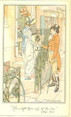 He...left them only at the door -Mansfield Park -Jane Austen/ illus CE Brock