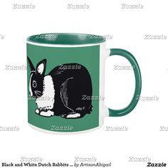 Black and White Dutch Rabbits Green Mug; ArtisanAbigail at Zazzle
