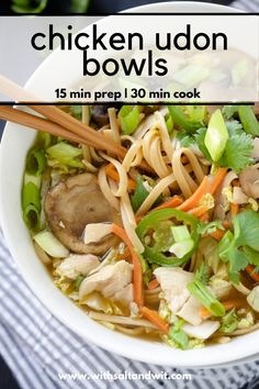You will love this easy chicken udon soup! This one pot chicken meal is filled with rice noodles tender chicken and plenty of vegetables! This dairy free gluten free dinner comes together quickly for a perfect healthy weeknight dinner idea. Quick Chicken Recipes, Healthy Chicken Recipes, Easy Healthy Recipes, Asian Recipes, Chicken Udon Soup, Dairy Free, Gluten Free, Easy Clean Eating Recipes, Recipes With Few Ingredients