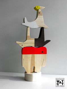 Circus Animals Act XL stacking wooden toy by WatermelonCatCompany