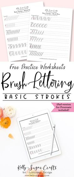 Brush lettering practice basic strokes worksheets Learn hand lettering with these free practice worksheets calligraphy brush lettering Procreate iPad by Kelly Sugar Craft. Brush Lettering Worksheet, Hand Lettering Practice, Hand Lettering Alphabet, Hand Lettering Fonts Free, Brush Calligraphy Alphabet, Calligraphy Practice Sheets Free, Lettering Styles, Script Fonts, Lettering Design