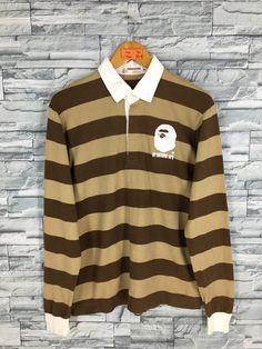 a124d04565f6 A BATHING APE Polo Rugby Shirt Small Nigo Japan Bape Streetwear Border  Stripes Ape Shall Never Kill Ape Long Sleeves Shirt Polos Size S