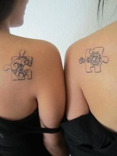 This is a pretty and unique puzzle tattoo. I think the key and heart concept is more fitting for a couple though and not friends or sisters.